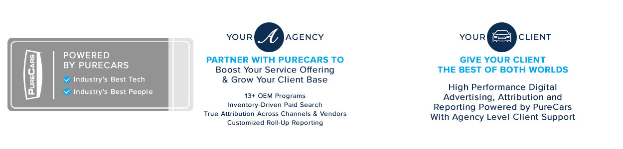 Partner with PureCars to offer your Automotive Dealer clients the best of both worlds.
